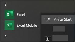 Ekrānuzņēmums, kurā parādīts, kā piespraust programmu sākuma izvēlnei