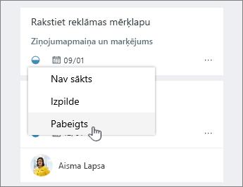 Noklikšķiniet uz ikonas progresu un statusa maiņa