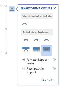 Tekstlodziņa izkārtojuma opcijas