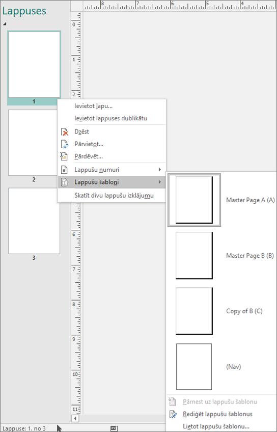 Ekrānuzņēmums, kurā redzama īsinājumizvēlnes opcija lapu šabloniem ar pieejamajām lapu šablonu opcijām.