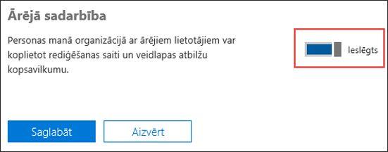 Microsoft Forms sadarbības iestatījums