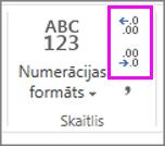 decimāldaļu skaita palielināšana vai samazināšana skaitļu formatējumā