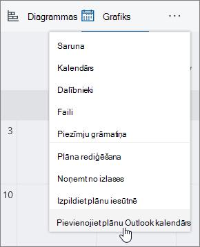 Plānotājs ekrānuzņēmums izvēlne ar pievienot plānu, lai Outlook atlasītais kalendārs.