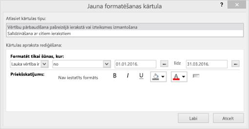 Jauna formatēšanas kārtula interfeisa ekrānuzņēmums