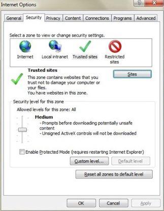 Interneta opcijas cilnē Drošība