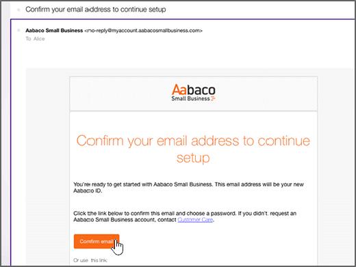 Noklikšķiniet uz Apstiprināt e-pasta ziņojumu