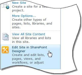 SharePoint Designer 2010 izvēlnē Vietnes darbības