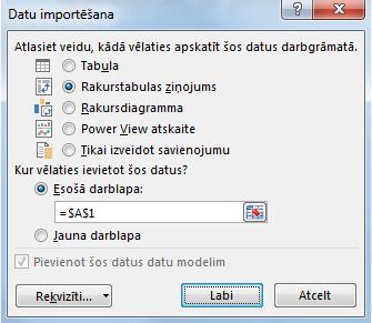 Datu importēšanas logs