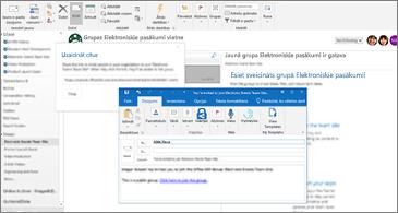 """Dialoglodziņš """"Uzaicināt citus"""" fonā un e-pasta ziņojums uzaicināmajam lietotājam priekšplānā"""