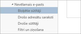 Ekrānuzņēmums, kurā attēloti bloķētie sūtītāji izvēlnē Opcijas