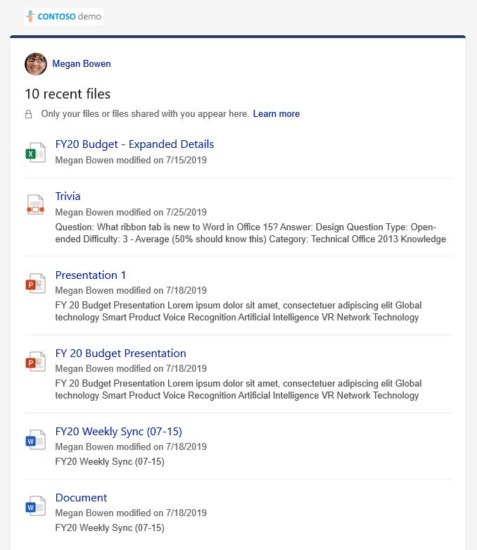 Nesen lietoto failu detalizētas informācijas rūts, kurā parādīti vairāki faili.