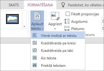 Attēla formatēšanas - aplauzt tekstu nolaižamais saraksts