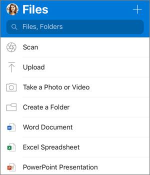 Ekrānuzņēmums ar pievienošanas izvēlni programmā OneDrive darbam ar iOS