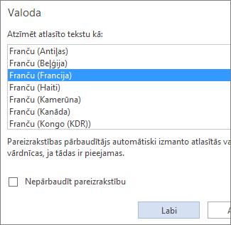 attēls, kurā redzams valodu saraksts, kas pieejams programmas word web app opcijā iestatīt koriģēšanas valodu.
