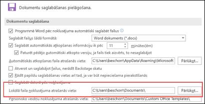Saglabāšanas opcijas programmā Word, kurās redzams noklusējuma darba mapes iestatījums