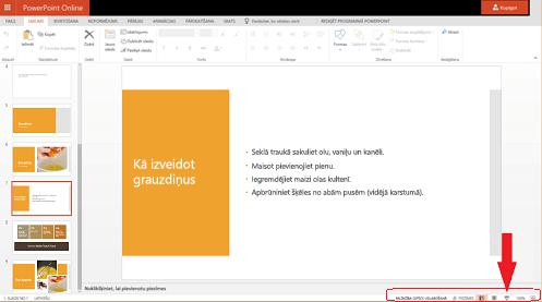 Lai sāktu slaidrādi no pašreizējā slaida, pārlūkprogrammas apakšējā labajā stūrī noklikšķiniet uz pogas Slaidrāde.