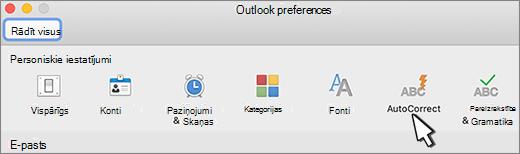 Outlook darbam ar Mac automātiskās koriģēšanas poga