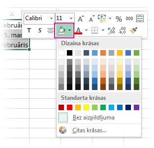 Lai šūnām pievienotu aizpildījuma krāsu, noklikšķiniet ar peles labo pogu