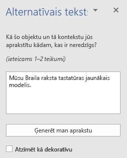 Word Win32 alternatīvā teksta rūts attēliem