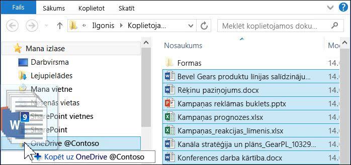 Lai augšupielādētu failus, velciet tos savā sinhronizētajā OneDrive darbam mapē