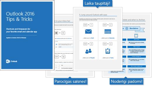 Outlook 2016 padomi un ieteikumi, kas filtrēšanas ikona, lapas, kas rāda daži padomi