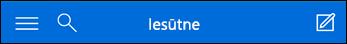 Augšējā navigācija mini programmai Outlook Web App