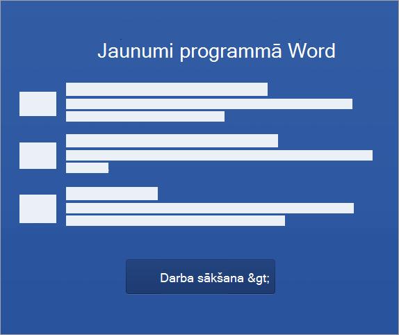 Sāciet aktivizēt programmu Word2016 darbam ar Mac