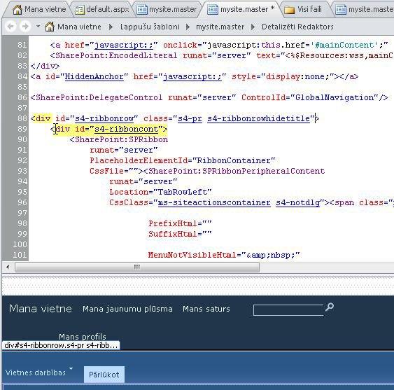 Div tagu izmantošana līdzekļa Mana vietne lapas šablona pielāgošanai