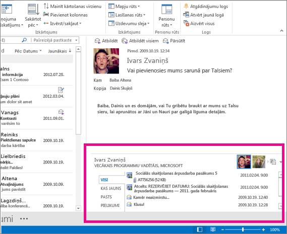 Outlook sabiedrisko sakaru savienotājs pēc izvēršanas