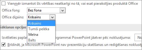 Parāda Office dizaina opcijas programmā PowerPoint2016