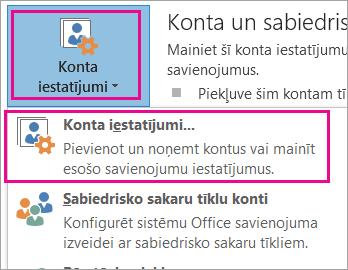 Lai noņemtu savu Gmail kontu, izvēlieties Fails, Konta iestatījumi, Konta iestatījumi.