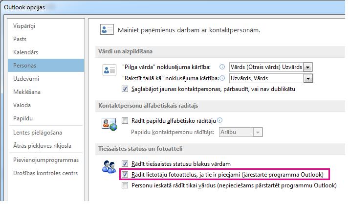 Loga Outlook opcijas ekrānuzņēmums, atzīmēta izvēles rūtiņa Iespējot fotoattēlus