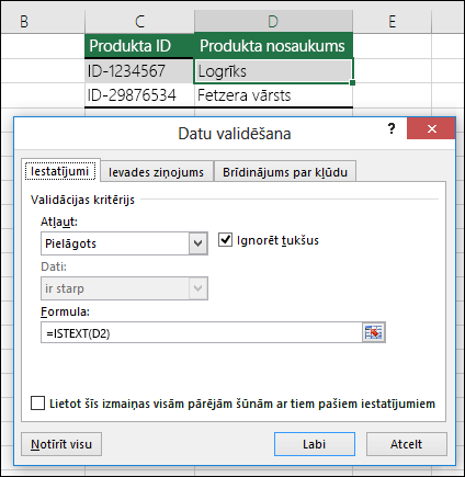 2.piemērs Formulas datu validācijā
