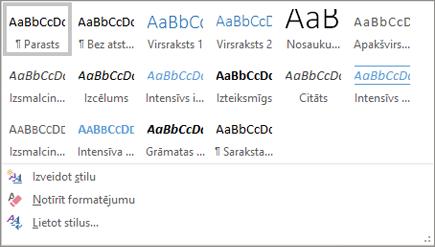Office365 Word stilu nolaižamā izvēlne