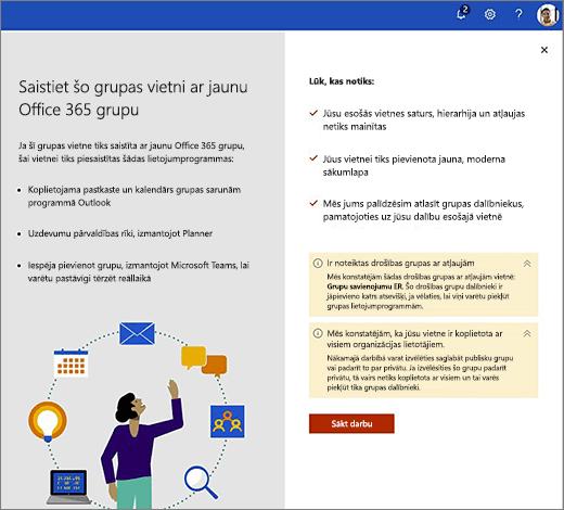 Šajā attēlā redzams jaunā Office 365 izveides vedņa pirmais ekrāns.