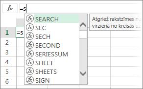 Formulu automātiskās pabeigšanas saraksts