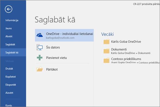Saglabāt kā, izmantojot OneDrive pēc noklusējuma