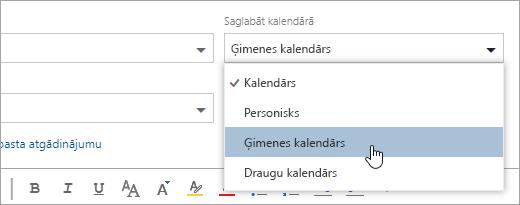 Ekrānuzņēmums, kurā saglabāt kalendāra nolaižamā izvēlne