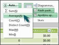 Līdzeklis Automātiskā summa pievienojumprogrammā PowerPivot