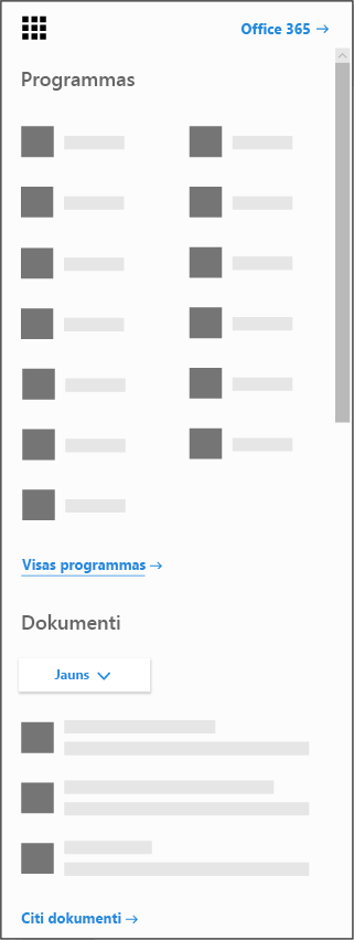 Office365 lietojumprogrammu palaidējs