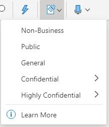 Jutības poga un nolaižamā izvēlne sistēmā Office tīmeklī