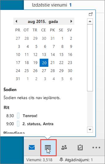 Kalendāra ieskats ar izceltu kalendāra ikonu