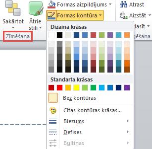PowerPoint 2010 text box shape outline menu