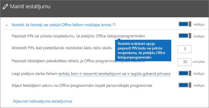 Pārliecinieties, vai ir ieslēgta opcija Pieprasīt PIN vai pirksta nospiedumu, lai piekļūtu Office programmām.