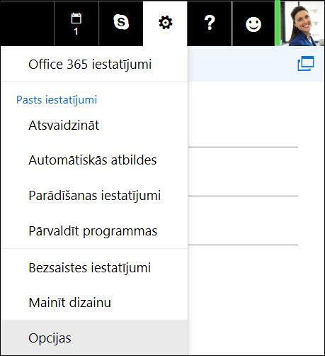 Programmas Outlook tīmeklī iestatījumu opcijas