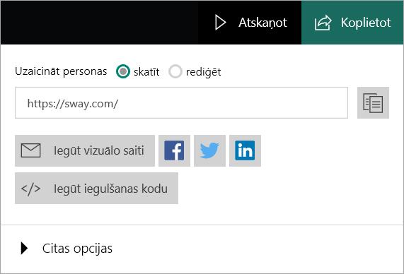 Sway izvēlne no jūsu Microsoft konta