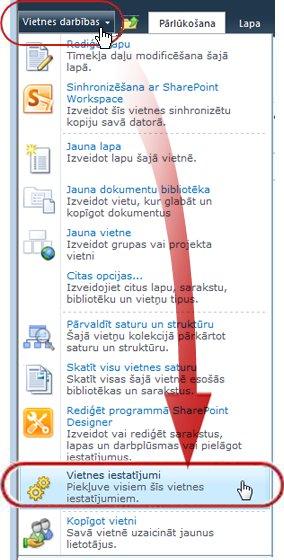Outlook tīmeklī iestatījumu opcijas