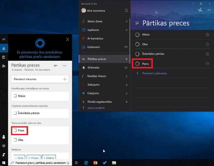 Ekrānuzņēmums, kurā redzama gan Cortana, gan Microsoft to-do atvērta operētājsistēmā Windows 10. Piens ir pievienots pārtikas preču sarakstam, izmantojot līdzekli Cortana, un tas ir pieejams arī pārtikas preču sarakstā programmā Microsoft to-do