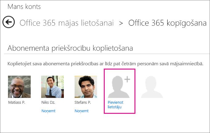 """Lapas """"Office365 koplietošana"""" ekrānuzņēmums ar atlasītu opciju """"Pievienot lietotāju""""."""