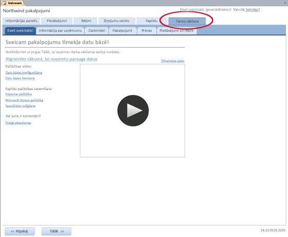 Pakalpojumu tīmekļa datu bāzes veidnes cilne Darba sākšana